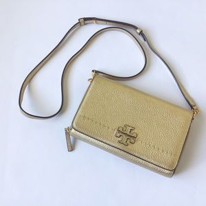TORY BURCH 'McGraw' Gold Wallet Crossbody Bag
